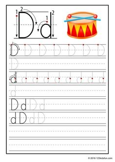 FREE Tracing Worksheet for Kids. Education Craft and Worksheet for Preschool,Toddler and Kindergarten. Learn to write the alphabet with 123 Kids Fun. Alphabet Writing Practice, Alphabet For Kids, Printable Alphabet Worksheets, Preschool Worksheets, Kid Printables, Drum Lessons For Kids, Drum Craft, Phonics Flashcards, Preschool Writing