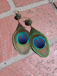 Trimmed Peacock Earrings with Rhinestone Bead by iodenise on Etsy, $16.50