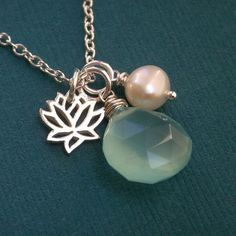 Blue lotus necklace, aqua chalcedony, lotus charm, pearl, sterling silver chain, blue necklace