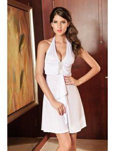 Elegant Evening Dress Halter Rhinestone Look White | Gowns and Long Dresses | Nightwear | StringsAndMe