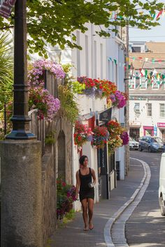 Pretty St Peter Port street, Guernsey, The Channel Islands
