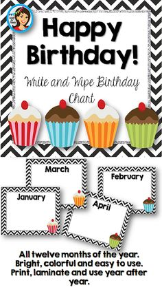 Classroom Decor - It's so much fun decorating an elementary classroom! You'll love the bright and cheerful chevron themed birthday bulletin board posters. Print, laminate and use a whiteboard marker to write the names and dates. Use it year after year!