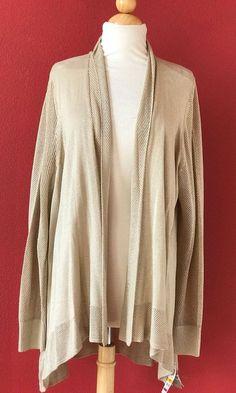 CHARTER CLUB Beige Metallic Knit Open Drape Cardigan Sweater Size 3X NWT NEW #CharterClub #Cardigan