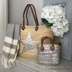 Natural Raffia Market Bag with Single Silver Sequined Star