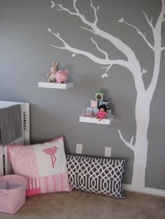 Art gray nursery, white trim, colorful accents, white wall decal nursery