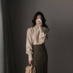 Asian-style-Inspo - Winter Outfits for Work Modest Outfits, Classy Outfits, Fall Outfits, Casual Outfits, Cute Outfits, Vintage Outfits, Long Skirt Outfits, Grunge Outfits, Work Outfits