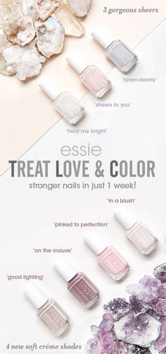 give your nails some TLC with NEW treat love & color. our first advanced care & color nail polish! nails look instantly perfected and polished with visually brightening pigments in the prettiest of sheer and crème shades. experience stronger nails i Mauve Nail Polish, Mauve Nails, Essie Nail Polish, Nail Polish Colors, White Nails, Ongles Plus Forts, Ongles Forts, Hair And Nails, My Nails