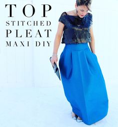 Top stitched pleated maxi skirt SIY || how to sew a formal maxi skirt for a fancy occasion