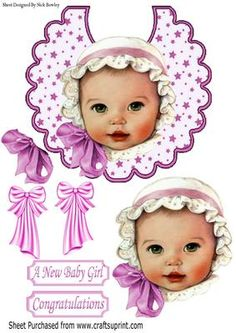 vintage baby girl in pink white bonnet on star bib on Craftsuprint - Add To Basket!