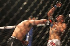 "Antonio ""Minatoro"" Rodrigo Nogueira knocks out Brendan ""Hybrid"" Schaub in the first round of their heavyweight bout at UFC 134 in Rio de Janeiro."