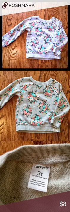 Carter's Gray Flower Sweatshirt  In NWOT condition. Beautiful neutral sweatshirt with flower design. Worn only once, cleaned with Dreft detergent.  Thank you for looking!                                     smoke and pet free home  Carter's Shirts & Tops Sweatshirts & Hoodies