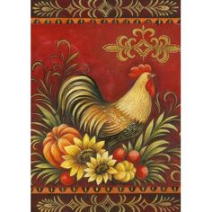 Toland Home Garden Fall Rooster Garden Flag Rooster Art, Rooster Decor, Arte Country, Pintura Country, Decoupage Vintage, Chicken Art, Chicken Painting, Chickens And Roosters, House Flags