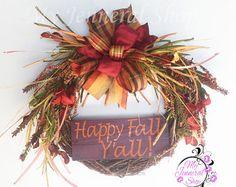 Happy Fall Y'all Wreath, Fall Wreath, Grapevine Wreath, Floral Wreath, Thanksgiving Wreath, Maroon Wreath