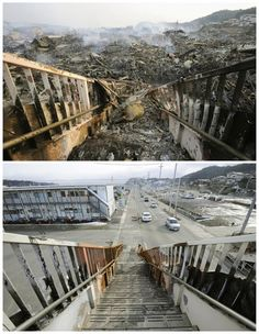 The tsunami-devastated Kesennuma in Miyagi prefecture is seen in these images taken March 2011 (top) and March in th… Japan Earthquake, Earthquake And Tsunami, Tornados, Tsunami No Japão, Tsunami Waves, Natural Phenomena, Natural Disasters, Fuerza Natural, Extreme Weather