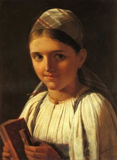 Girl with Accordion. Alexey Venetsianov (Russian, 1780-1847).  At the beginning of 1819 the artist had gone to the small estate of Safonkovo in Tver Gubernia. Here, at the age of forty, he more or less went back to square one. He was fascinated by the common people, by serfs and peasants who had heroically fought Napoleon's troops and who retained their human dignity and nobility despite the yoke of serfdom. And although from time to time he did still do some portraits, Venetsianov's main…