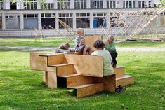 wooden stair public furniture by sebastian marbacher - designboom | architecture
