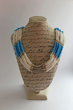 #beads #necklace #blue #white #silver Beads, Silver, Handmade, Crafts, Blue, Home Decor, Beading, Hand Made, Manualidades