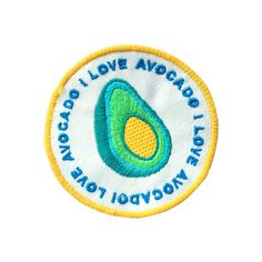 Iron on avocado badge , for big avocado fans ! Measures 8cm in diameter