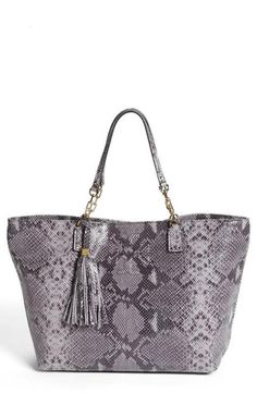 Snake Embossed Leather Tote