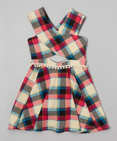 Red & Beige Plaid Pom-Pom Dress -  #zulilyfinds