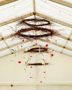 Look at these beautiful hanging decorations by - love them. Suspending foliage and decorations in the lofty roof space looks amazing, adding colour and atmosphere. Marquee Hire, Marquee Wedding, Hanging Decorations, Wedding Decorations, South Devon, Devon And Cornwall, Wedding Flower Inspiration, Exeter, Somerset