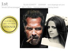I am so excited: My drawing of Arnold Schwarzenegger is now an award winning artwork! I won the 1st place in category 5. PASTEL/CHALK/CRAYON/COLORED PENCIL – HUMAN FIGURE in the 2015 American Art Awards.   Here you can see it on the American Art Awards website and on highlighthollywood.com:  http://www.americanartawards.com/2015-winning-artists/  http://highlighthollywood.com/…/schwarzenegger-portrait-in…/