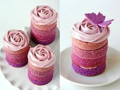 Ombre mini cakes...to fit your wedding color pallette, could do this nstead of cake or cupcakes. oR, have a cake for bride n groom n guests up to 3tiers in diff flavors. Make dessert table flow. Or bride n grooms cake for show, hand these to guests!