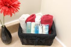 Help your guests feel right at home with a basket or storage bin full of toiletries, hand towels, and toiletries. Create this ensemble for less when you shop at Dollar Tree!