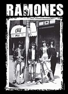 Relive punk's glory days with this Ramones CBGB Fabric Poster featuring Joey, Johnny, Tommy, and Dee Dee from the Ramones outside the Lower East Side club. 30 x 40