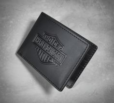 Reach for a genuine leather wallet that's made to last. | Harley-Davidson Bar & Shield Logo Flip Fold Wallet