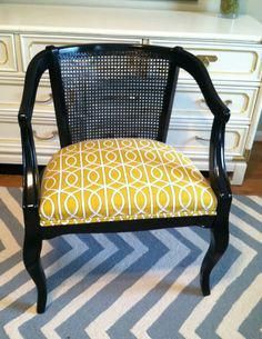 Vintage Cane Barrel Chair has a remake with black paint and updated fabric Chair Makeover, Furniture Makeover, Cane Back Chairs, Cane Furniture, Painted Furniture, Restaurant Chairs For Sale, Used Chairs, Cafe Chairs, Room Chairs