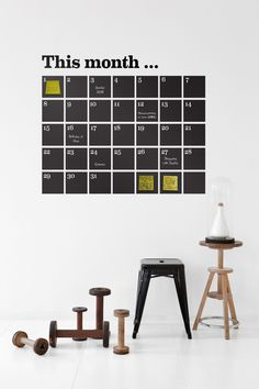 Ferm Living Wall Stickers: This Danish company has some of the prettiest wall stickers we've seen, including a new perpetual calendar designed with chalkboard tiles. Chalkboard Calendar, Calendar Stickers, Chalkboard Paint, Chalk Paint, Chalk Wall, Large Chalkboard, Chalkboard Stickers, Kitchen Chalkboard, Blackboard Wall