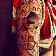 Start of a kokeshi sleeve by Vicky Morgan at GhostHouse Collective Derby...