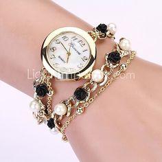 Mujer Reloj de Moda Reloj Pulsera Cuarzo La imitación de diamante Metal  Banda Perlas Elegantes Negro c56f14b66c50