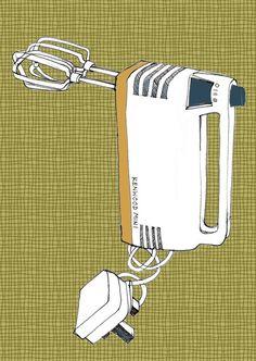 Kitchen Art Print - Retro Kenwood Mixer