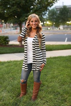 The Pink Lily Boutique - Charcoal Stripe Patch Cardigan/Coming Soon! , $36.00 (http://www.thepinklilyboutique.com/charcoal-stripe-patch-cardigan-coming-soon/)