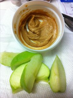 Advocare 10 day cleanse-snack. 1/2 green apple, 1tbs natural peanut butter mixed with cinnamon and water. Yum!