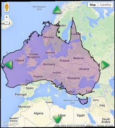 Australia over Europe 7692024 square kms  Cool stuff