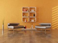 minimalist orange and brown interior