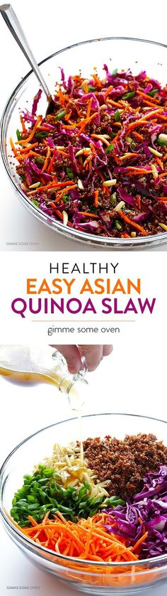 Asian Quinoa Salad Easy Asian Quinoa Salad -- quick and easy to make, full of great flavor, and naturally vegan and gluten-free!Easy Asian Quinoa Salad -- quick and easy to make, full of great flavor, and naturally vegan and gluten-free! Slaw Recipes, Raw Food Recipes, Vegetarian Recipes, Cooking Recipes, Healthy Recipes, Free Recipes, Honey Recipes, Avocado Recipes, Quick Recipes