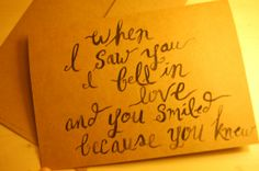 When I Saw You I Fell In Love Shakespeare Quote Card Black Paint 5x7