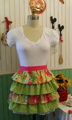 Love this colorful, ruffled half apron!