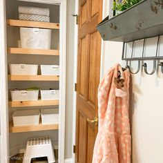 A budget friendly DIY solution for how to cover wire shelving. Renter friendly option and easy to DIY if you don't want to replace the existing shelving. Office Built Ins, Diy Concrete Planters, Table Shelves, Plywood Shelves, Master Bedroom Closet, Built In Bookcase, Bookcases, Closet Shelves, Wire Shelving