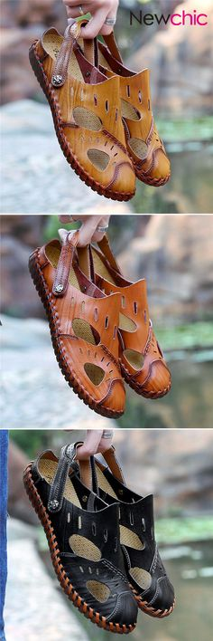 Large Size Men Hand Stitching Water Friendly Lather Sandals Discount Mens  Shoes 8498264a46b0