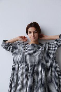 ok/Veritecoeur Gingham Linen Tunic Linen Dress Pattern, Linen Tunic, Dress Patterns, 80s Fashion, Korean Fashion, Womens Fashion, Fashion Tips, Fashion Design, Style Fashion