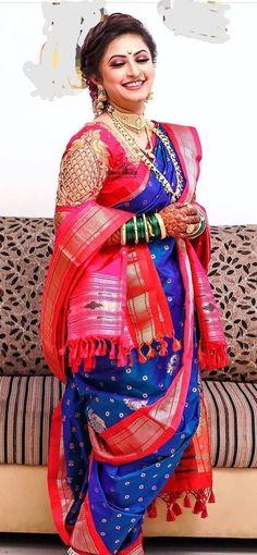 Marathi Saree, Marathi Bride, Indian Bridal Outfits, Indian Bridal Wear, Wedding Dresses For Girls, Girls Dresses, Kashta Saree, Nauvari Saree, Bridal Photoshoot