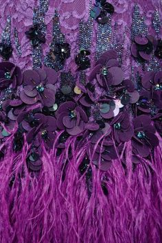 Embellishments and Embroidery in Haute Couture - Collection Of DIY Free Masterclasses Tambour Beading, Tambour Embroidery, Couture Embroidery, Embroidery Fashion, Hand Embroidery, Embroidery Designs, Purple Love, All Things Purple, Shades Of Purple