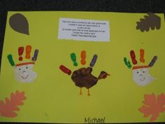 Thanksgiving placemats - I would only change one thing: I'd make one handprint the Native American, one the Turkey, and one the Pilgrim
