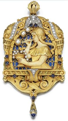 EM-SET PENDANT, FUSET Y GRAU, CIRCA 1920. Depicting a girl blowing pearl bubbles, her arms and face of carved ivory, to a red and blue plique-à-jour enamel background, within a chased surround of acanthus leaves and scrolls highlighted with circular-cut sapphires and similarly and single-cut diamonds, signed Fuset Y Grau.