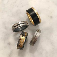 Todd Reed Jewelry, Mens Wedding Bands, Mens Jewelry, Mens Raw Diamond Ring, Mens Black Jade Wedding Band, Palladium, Gold, Textured, Street Style, Mens Alternative Wedding Rings